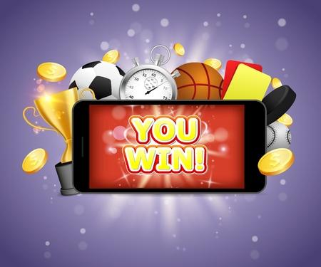 Winner sports betting vector poster banner design template Иллюстрация