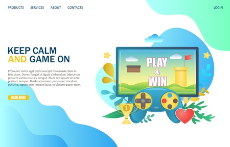 Keep calm and game on vector website landing page design template Illustration