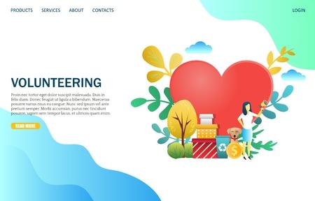 Volunteering vector website landing page design template