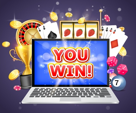 You win casino vector poster banner design template. Laptop, roulette wheel, playing cards, slot game, poker chips, dices, dollar coins, trophy cup. Online gambling, internet casino winner concept.