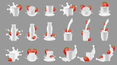Paquete de yogur de fresa con set de maquetas de salpicaduras. Envase de taza de botella de plástico en blanco blanco realista de vector para postre, yogur, fresa fresca y salpicaduras de leche y vertido.