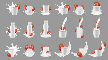 Strawberry yogurt package with splash mockup set. Vector realistic white blank plastic bottle cup container for dessert, yoghurt, fresh strawberry and milk splashing and pouring.