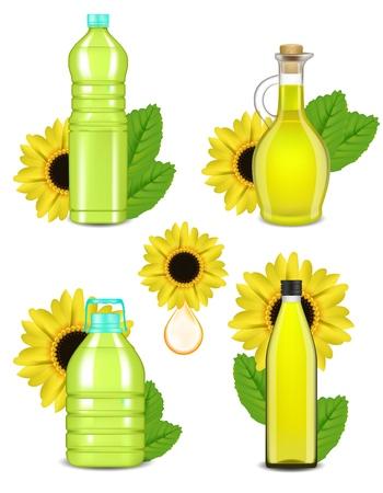 Sunflower oil bottle set, vector realistic illustration Vectores