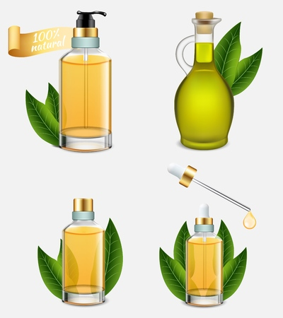 Tea tree oil bottle set. Vector realistic illustration of melaleuca essential oil bottles with green tea leaves. Natural product used in traditional medicine and cosmetics.