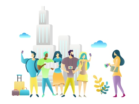 City tour with travel guide, vector illustration Vectores