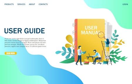 User guide vector website landing page design template