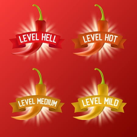 Red hot chili pepper heat scale, vector realistic illustration Illustration