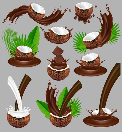 Coconut in chocolate splash. Vector realistic illustration. Nuts with chocolate splashing and pouring, palm leaves.