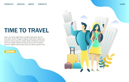 Time to travel vector website landing page design template 向量圖像