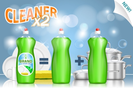 Dish detergent promo poster. Vector 3d realistic illustration of dishwashing liquid plastic bottles. 2 in 1 dish cleaner plus hand soap ad.