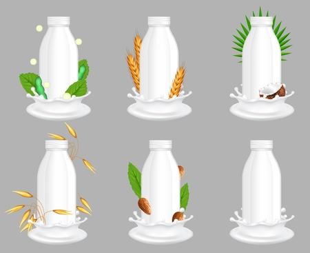 Koeien en plantaardige veganistische melkpakket mockup set. Realistische vectorillustratie van koe en vegetarische soja, rijst, havermout, kokosnoot, amandeldrank in witte lege plastic flessen.