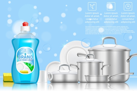 Dishwashing liquid soap ad. Vector 3d realistic illustration of plastic dish soap bottle and clean plates and cookware. Blue dish detergent promo poster with copy space. Illustration