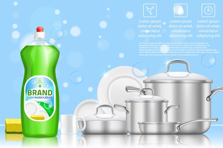 Dishwashing liquid soap ad. Vector 3d realistic illustration of plastic dish soap bottle and clean dishes. Green dish detergent promo poster with copy space.
