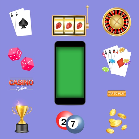 Mobile casino kit, vector isolated illustration. Smartphone, roulette wheel, playing cards, slot game, poker chips, dices, dollar coins and trophy cup. Online gambling icon set for web, poster, banner