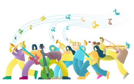 Music festival vector poster banner template with musicians color cartoon characters playing saxophone, guitar, double bass, french horn, trumpet, violin and trombone.