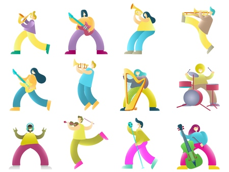 Musicians cartoon characters, vector illustration isolated on white background. People singing, listening to music and playing guitar drums trombone trumpet saxophone violin double bass french horn. Çizim