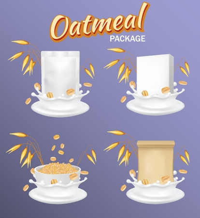 Healthy oatmeal package mockup set. Vector realistic illustration. White blank foil food snack sachet bag, brown kraft paper zipper pouch, cardboard box and bowl with milk splash and oat ears. Illustration