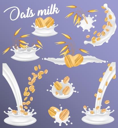 Ensemble d'éclaboussures de lait d'avoine. Illustration vectorielle réaliste des oreilles d'avoine, des grains entiers, des flocons d'avoine dans du lait végétal végétalien éclaboussant et versant. Alimentation saine, nourriture diététique crémeuse et délicieuse. Vecteurs