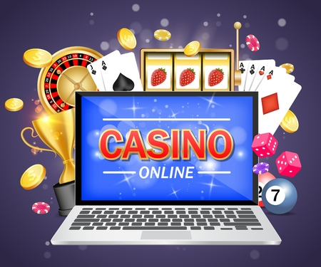 Online casino vector poster banner design template. Laptop, roulette wheel, playing cards, slot game, poker chips, dices, dollar coins, trophy cup. Online gambling concept. 向量圖像