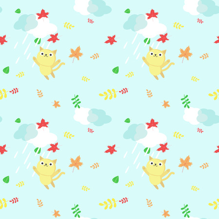Vector seamless pattern with cute cats having fun under rain, autumn leaves. Funny autumn cats background, wallpaper, fabric, wrapping paper.
