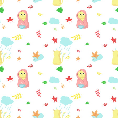 Vector seamless pattern with cute cats, autumn leaves, clouds with rain drops. Funny autumn cats background, wallpaper, fabric, wrapping paper.