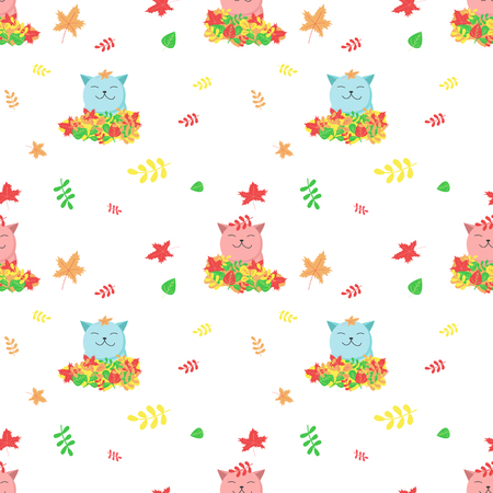 Vector seamless pattern with cute cats and autumn leaves. Funny autumn cats background, wallpaper, fabric, wrapping paper. Иллюстрация