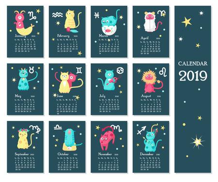 2019 zodiac calendar vector template with cute cats