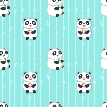 Vector seamless pattern with cute pandas eating bamboo leaves and donuts. Funny eating animals background, wallpaper, fabric, wrapping paper.