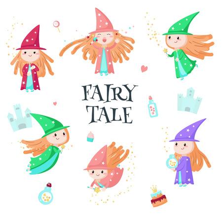 Cute little enchantress icon set vector isolated illustration