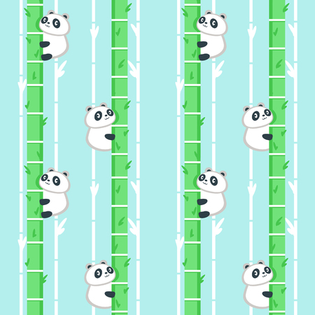 Vector seamless pattern with cute panda climbing bamboo tree. Funny animals background, wallpaper, fabric, wrapping paper.