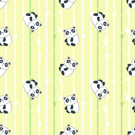 Vector seamless pattern with cute panda and bamboo tree branches. Funny animals background, wallpaper, fabric, wrapping paper.