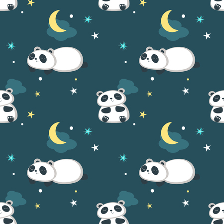 Vector seamless pattern with cute panda taking rest. Funny animals background, wallpaper, fabric, wrapping paper. Иллюстрация