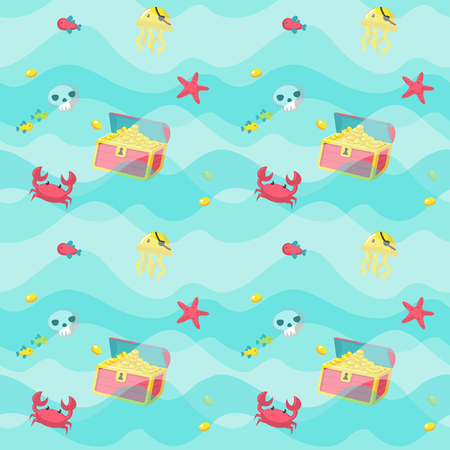 Vector seamless pattern with pirate accessories and marine animals. Jellyfish in eye patch, crab, fish, starfish, treasure chest and skull. Childish pirate background wallpaper fabric wrapping paper.