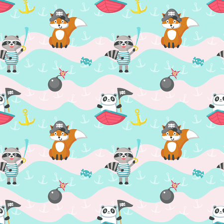 Vector seamless pattern with cute fox, raccoon and panda with pirate captain hat, eye patch, flag, sword etc. Childish pirate background, wallpaper, fabric, wrapping paper.