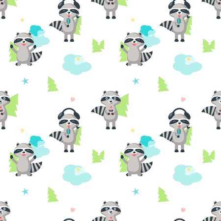 Vector seamless pattern with cute raccoons holding cake, singing with microphone and headphones and having fun. Funny raccoon background, wallpaper, fabric, wrapping paper. Illustration
