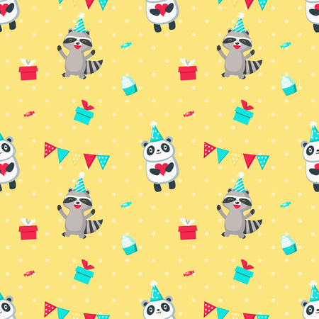 Vector seamless pattern with cute raccoon and panda wearing party hats and gift boxes, candies, cupcakes, party pennants around them. Happy birthday background, wallpaper, fabric, wrapping paper. Иллюстрация