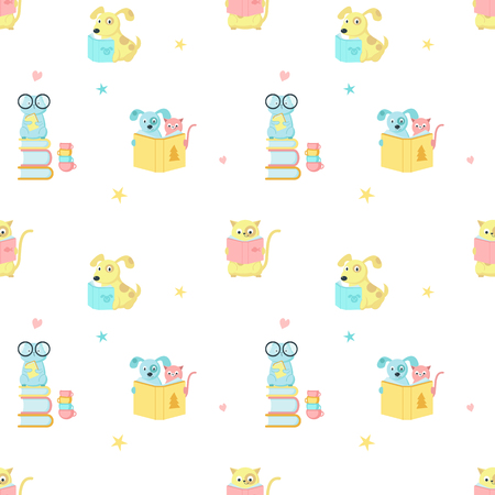 Vector seamless pattern with cute cat, dog and hamster reading books. Funny reading animals background, wallpaper, fabric, wrapping paper. Иллюстрация