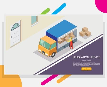 Modèle de conception de bannière web de service de relocalisation. Camion isométrique vectoriel et travailleur déchargeant des boîtes en carton. Concept de déménagement ou de déménagement.