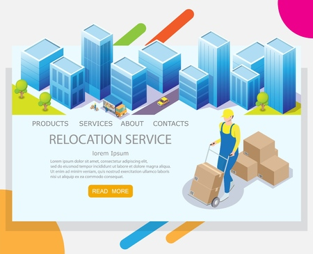 Relocation service vector website template, web page and landing page design for website and mobile site development. Worker pushing cart with cardboard boxes. Moving or relocation concept.