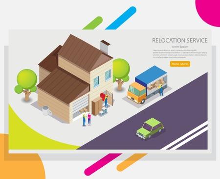 Modèle de conception de bannière web de vecteur de service de relocalisation