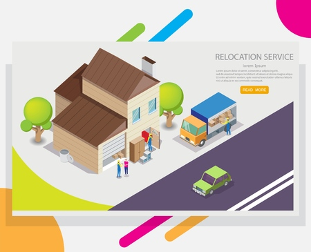 Relocation service vector web banner design template