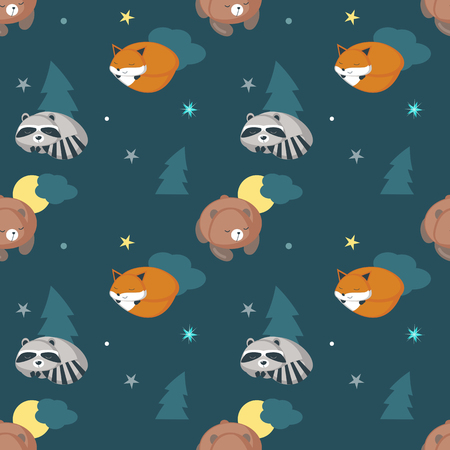 Vector seamless pattern with cute sleeping raccoon, fox and bear, night starry sky. Funny sleeping animals background, wallpaper, fabric, wrapping paper. Vettoriali