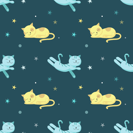 Vector seamless pattern with cute sleeping cats, night starry sky. Funny sleeping animals background, wallpaper, fabric, wrapping paper.