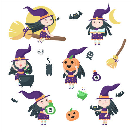Cute little witches riding broomstick, preparing potion in boiling cauldron etc. Vector illustration isolated on white background. Halloween witches for party invitation, poster, sticker, print. Imagens - 124801347
