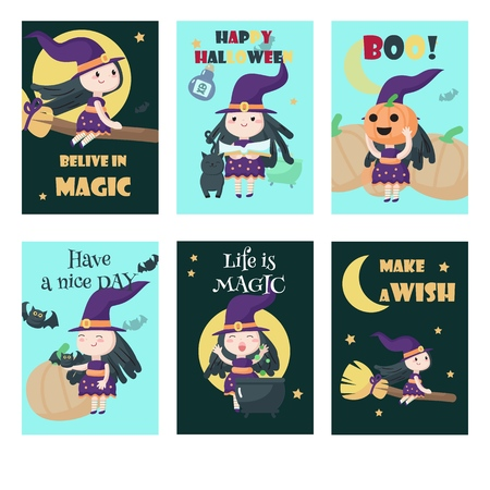 Vector set of cards with cute little witches, bats, pumpkins, cat and Halloween quotations. Pretty girls cartoon characters flying on broom, preparing potion in boiling cauldron etc.