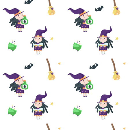 Vector seamless pattern with cute little witch reading magic book, holding potion bottle and broomsticks, cauldrons, bats around her. Halloween background, wallpaper, fabric, wrapping paper. Imagens - 124801350