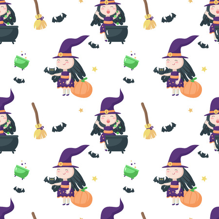Vector seamless pattern with cute little witch preparing magic potion in cauldron and broomsticks, pumpkins, bats around her. Halloween background, wallpaper, fabric, wrapping paper. Imagens - 124801351