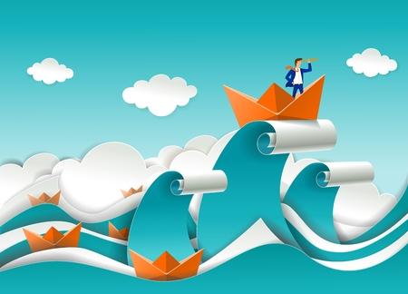 Business Leader Konzept Vektor-Poster im Papierkunst-Origami-Stil. Geschäftsmann, der durch das Teleskop schaut, das im Boot auf der Spitze der Ozeanwelle steht. Konzept der Unternehmensführung. Vektorgrafik