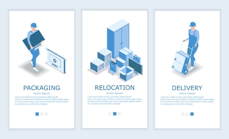 Vector set of moving or relocation concept mobile app onboarding screens. Packaging, Relocation and Delivery services website design templates and web banners. Çizim
