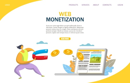 Web monetization vector website landing page design template